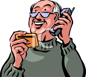 Cards clipart person Paying man telephone on collection