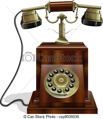 Telephone clipart old phone Phone with Old wooden body