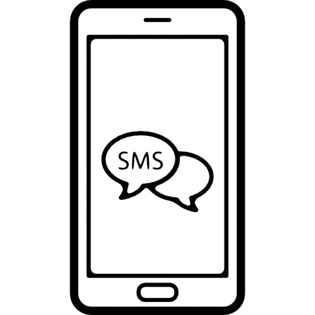 Telephone clipart sms Phone screen bubbles symbol on