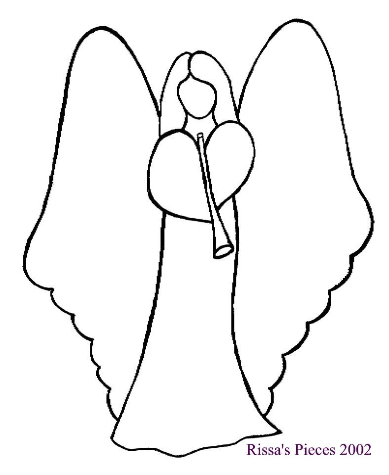 Drawn angel outline drawing Free Patterns And White Quilt