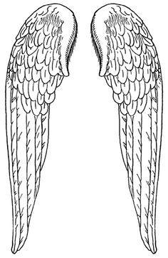 Wings clipart printable Line art black Angel Wings