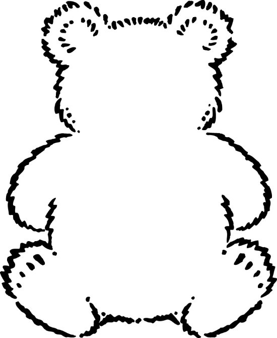 Teddy clipart coloring page #3