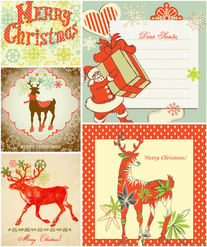 Templates  clipart christmas card Christmas vintage Stock christmas card