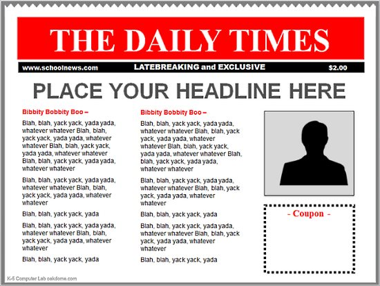 Templates  clipart newspaper front page #1