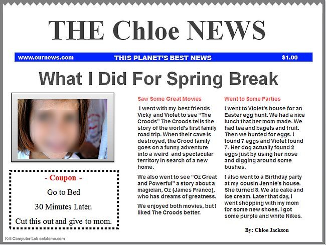 Templates  clipart newspaper front page #4