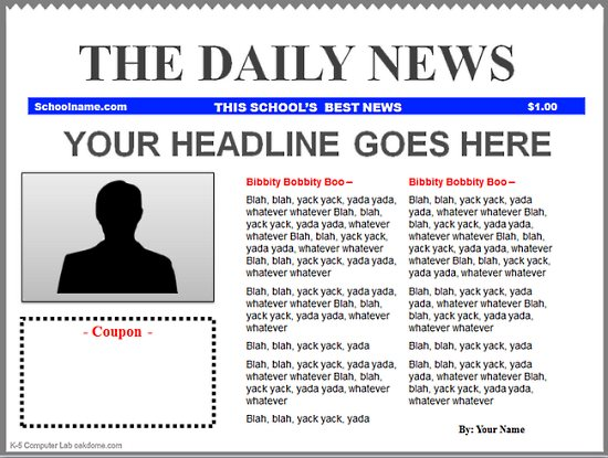Templates  clipart newspaper front page #2