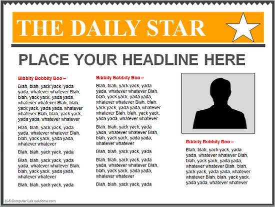Templates  clipart newspaper front page #7