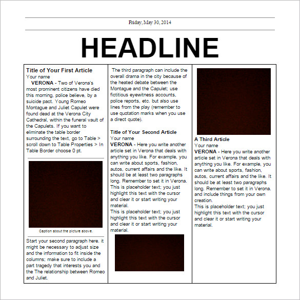 Templates  clipart newspaper layout Doc Newspaper Free EPS Google