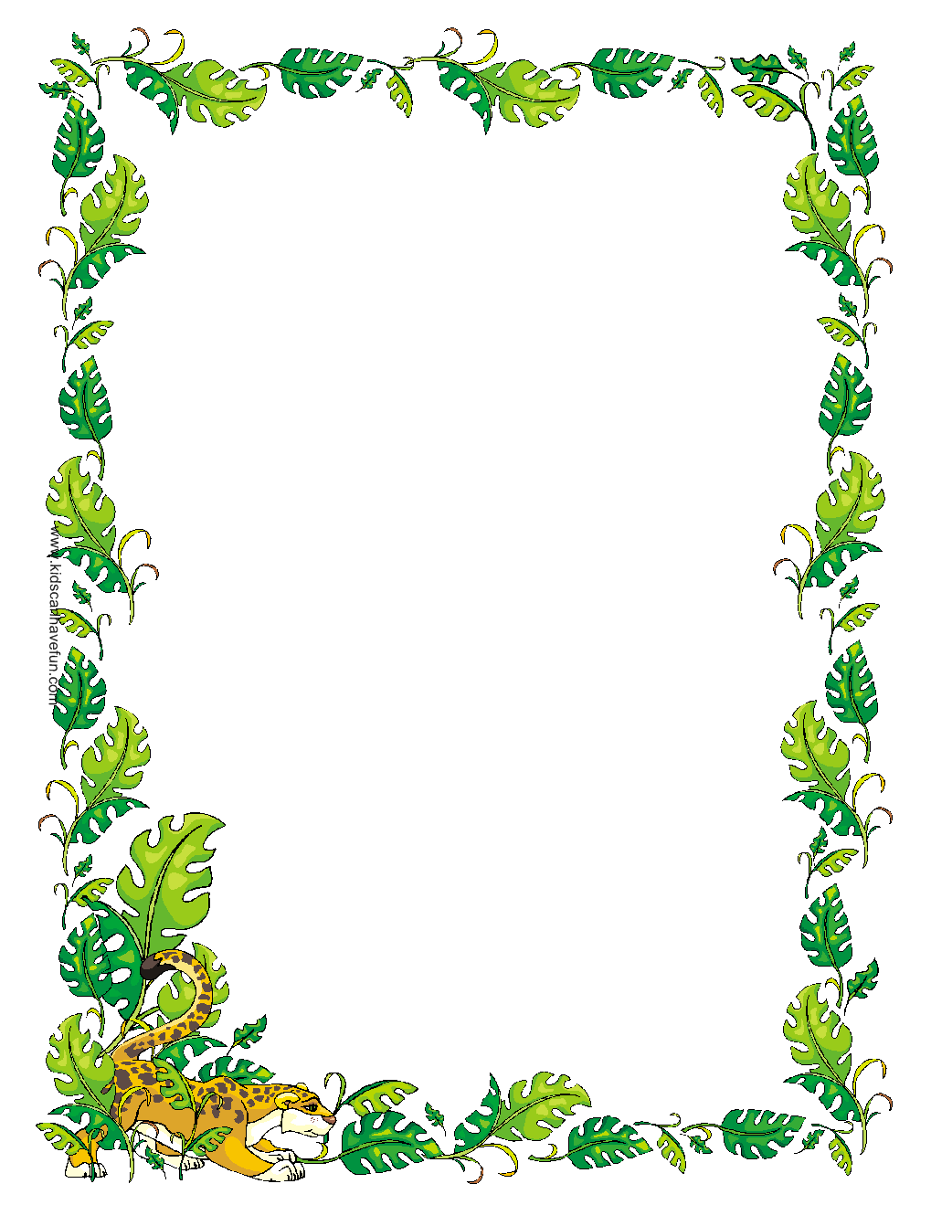 Drawn jungle border Free Clip Art Paper Borders