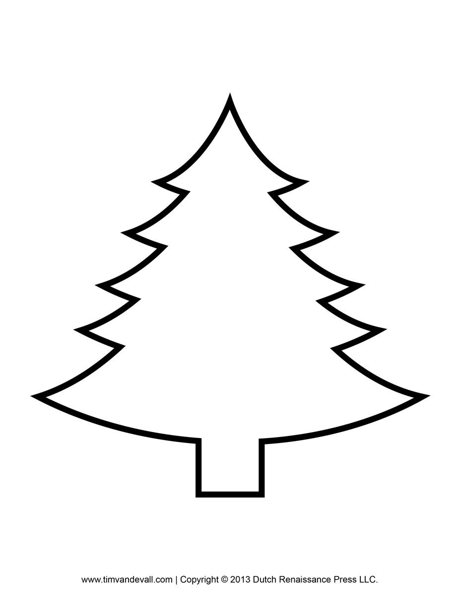 Christmas Tree clipart black and white Printable Christmas Template Art Tree