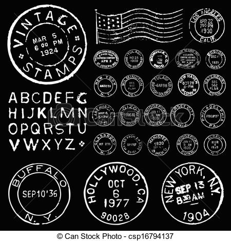 Templates  clipart vintage postage stamp White and Set Vector Stamp