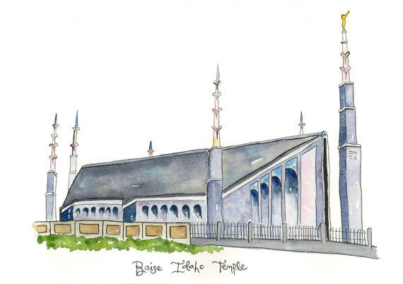 Temple clipart boise Idaho Idaho Temple Boise Watercolor