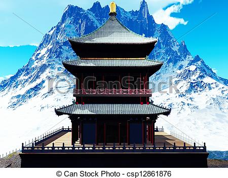 Asians clipart buddhist temple Illustrations  csp12861876 csp12861876 temple