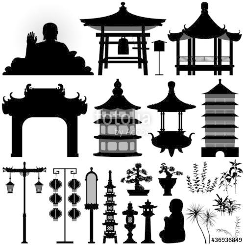 Asian clipart chinese building Temple Building Elements