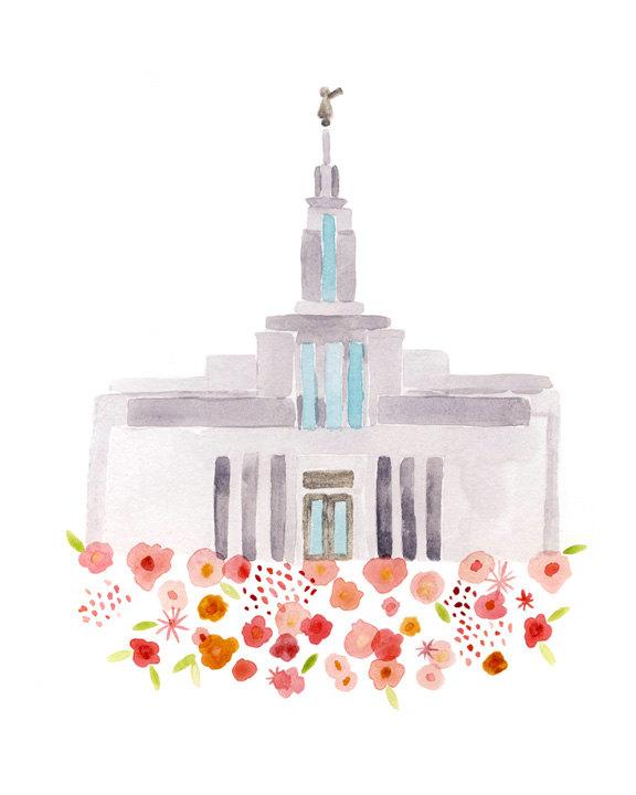 Temple clipart draper Giclee Giclee gold LDS Utah