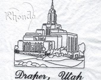 Temple clipart draper Embroidery Draper Etsy temple utah