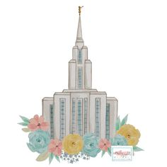 Temple clipart oquirrh mountain Floral utah floral 8x10 art