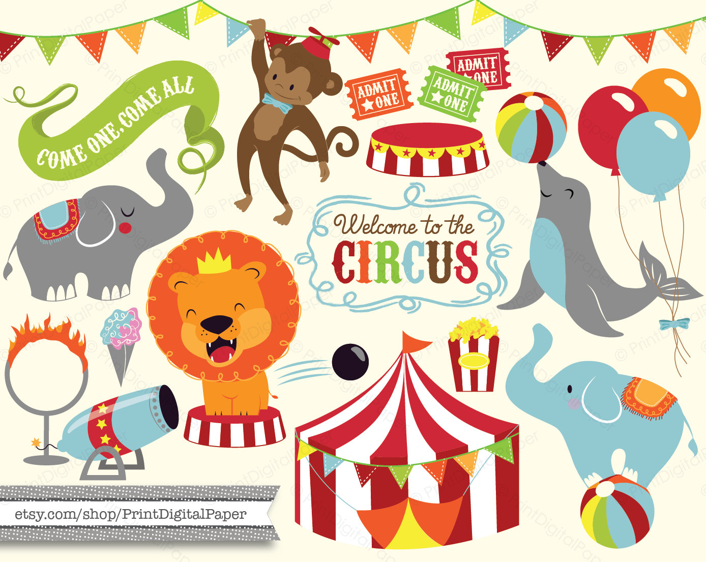 Carousel clipart lion Elephant Baby Circus illutrated Baby