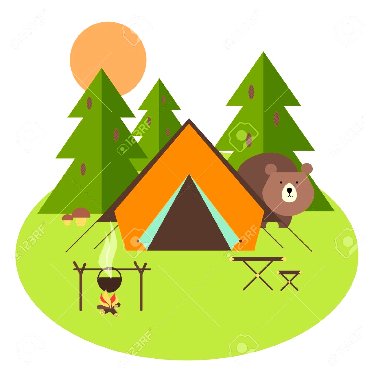 Tent clipart biblical Free Cute Red Camping Clip