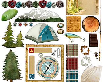 Tent clipart campout Camp Etsy Camping Scrapbook Digital