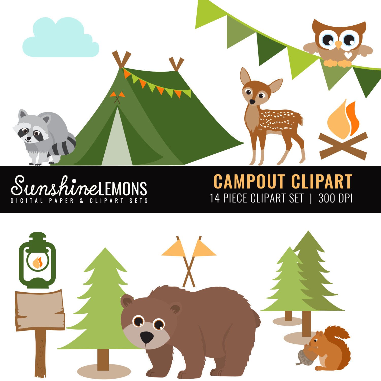 Camping clipart woods Camping COMMERCIAL Etsy of Clipart