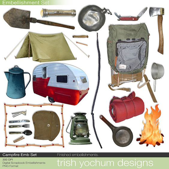 Tent clipart campout Camp catalog Camping Scrapbook Digital