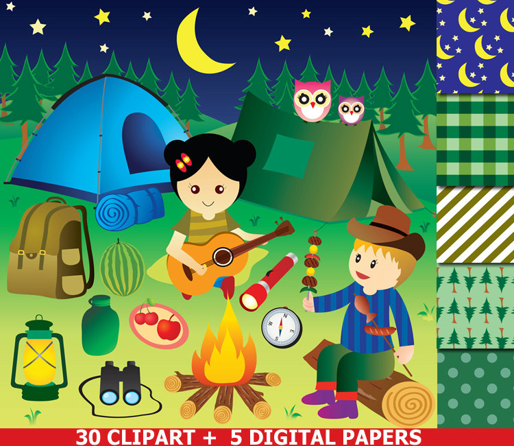 Camping clipart woods Digital Camp  Clipart is