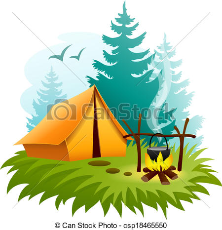Tent clipart campsite Camping of in Vector with