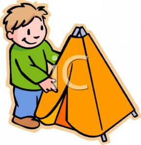 Tent clipart cartoon Of Up Haired Picture Putting