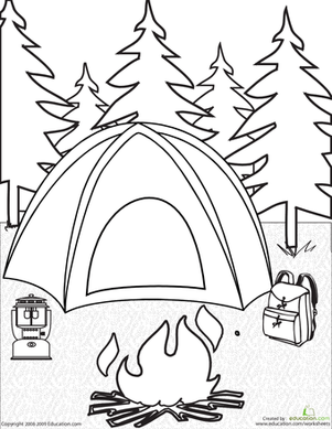 Tent clipart coloring page Camping Coloring Page Campfires Camping