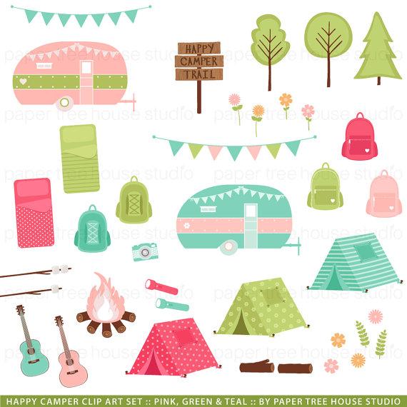 Tent clipart cute Tent Camper Happy Set Clip