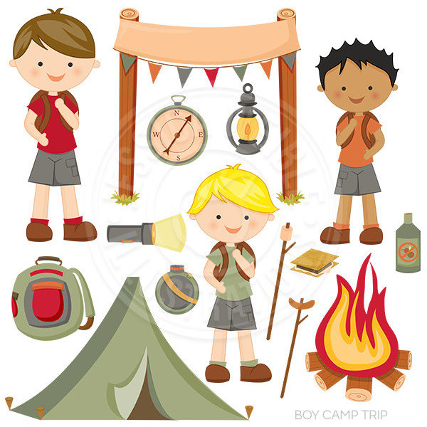Wilderness clipart vintage camping Camp Digital fire Tent Art
