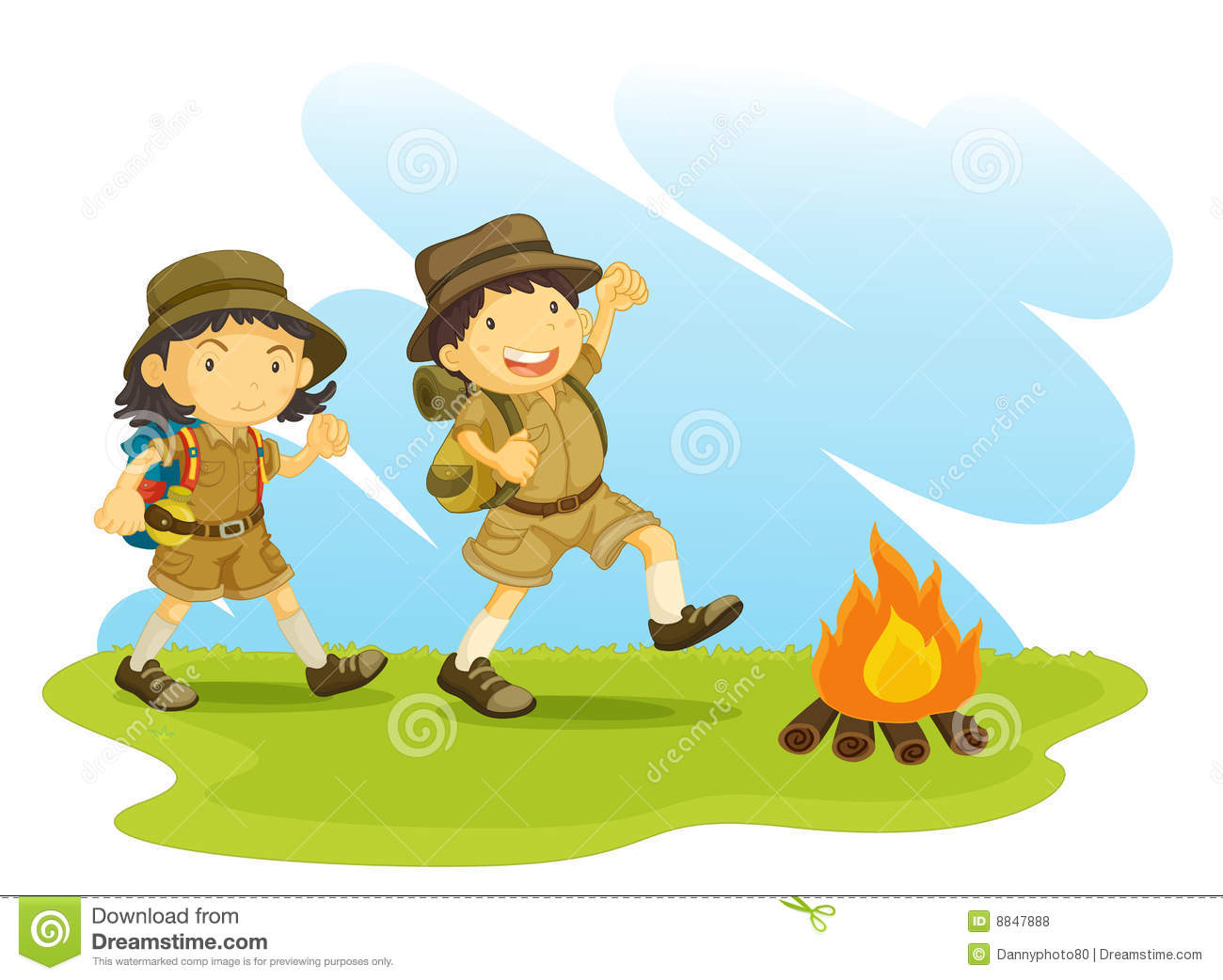 Hiking clipart kid campfire  girl Clipart scouts Collection
