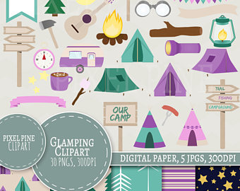 Tent clipart girly 30 JPGs Glamping 5 tents