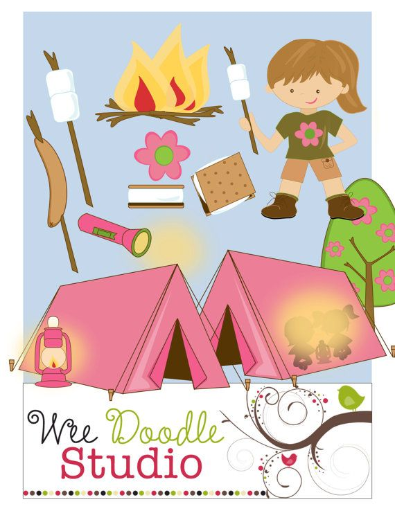 Pink clipart camping On Clip CampTramp Girls Camping
