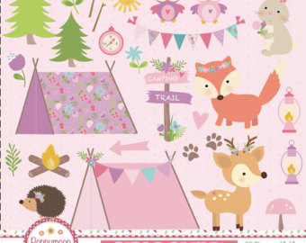Tent clipart girly Tents digital Girls and tents