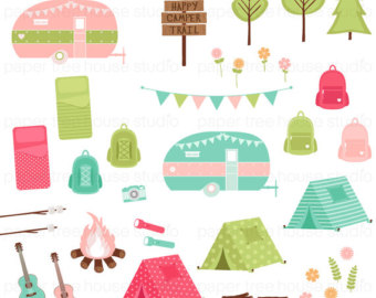 Tent clipart girly Happy Banner Clip Tent Camping