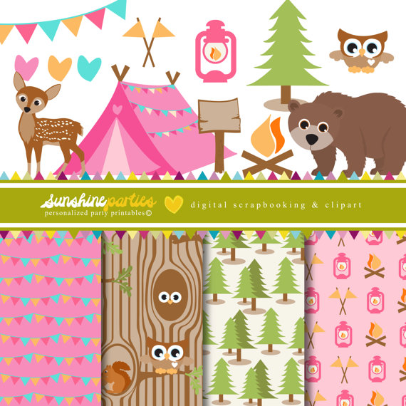 Tent clipart girly Clipart Out Girls Digital Out