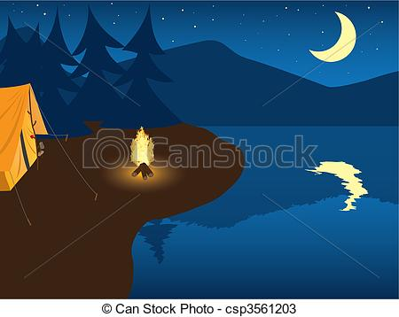 Tent clipart night scenery Art mountain 801 Camping by