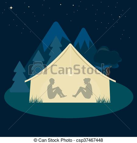 Tent clipart night scenery  csp37467448 woman young man