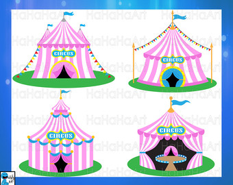 Carnival clipart pink circus tent Svg Files Instant Etsy Tent