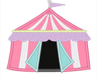 Carnival clipart pink circus tent Instant Design Applique pattern Etsy