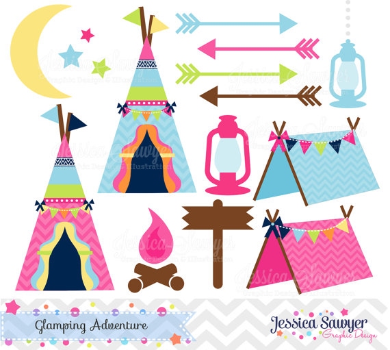 Campfire clipart cute Party glamping commercial INSTANT for