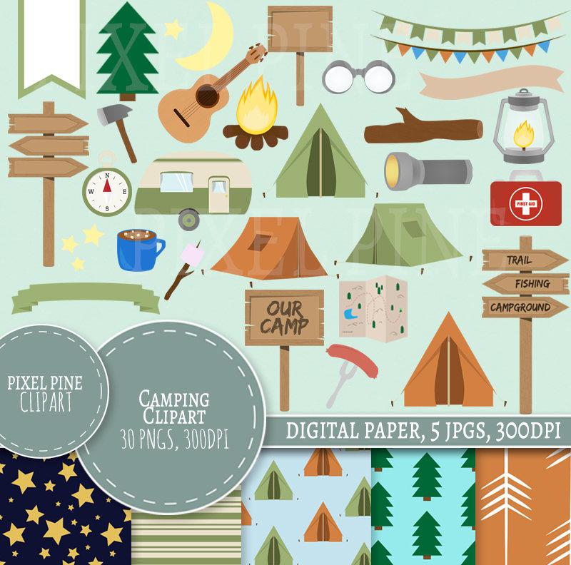 Tent clipart pixel art 5 Set Paper Camping PNGs