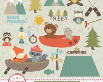 Tent clipart printable Outdoors clipart printable digital fishing