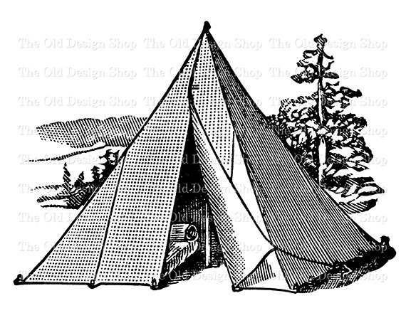 Tent clipart printable Art from on TheOldDesignShop Camping