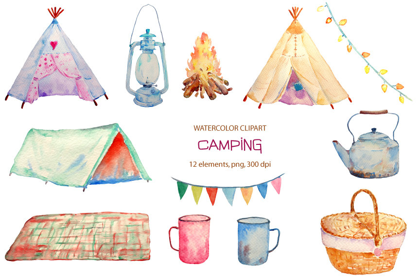 Camper clipart painted vintage Hand watercolor painted Etsy Teepee