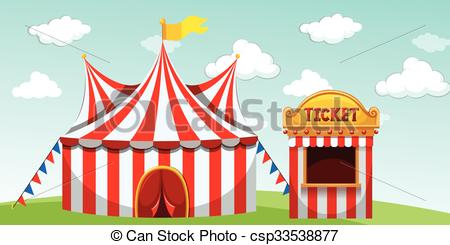 Tent clipart ticket booth Circus tent Illustration Vectors of