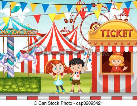 Carnival clipart ticket booth Booth at of ticket csp32093421