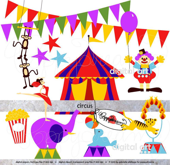 Carneval clipart tiger Etsy Elephant Lion Circus: